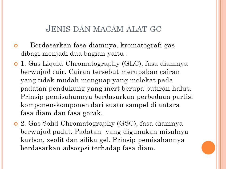 J ENIS DAN MACAM ALAT GC Berdasarkan fasa diamnya, kromatografi gas dibagi menjadi dua bagian yaitu : 1. Gas Liquid Chromatography (GLC), fasa diamnya