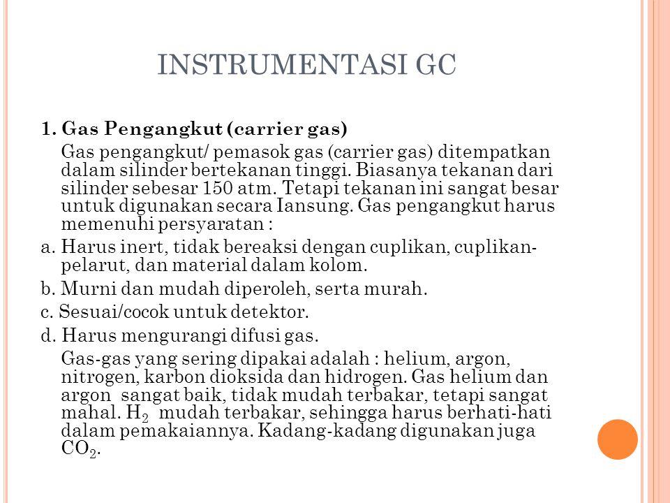 INSTRUMENTASI GC 1. Gas Pengangkut (carrier gas) Gas pengangkut/ pemasok gas (carrier gas) ditempatkan dalam silinder bertekanan tinggi. Biasanya teka