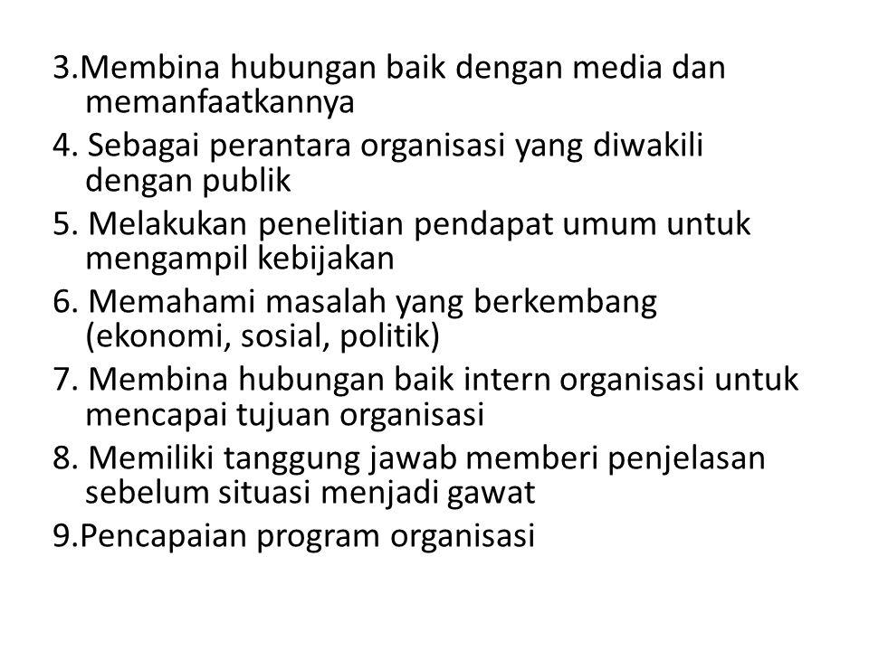 3.Membina hubungan baik dengan media dan memanfaatkannya 4. Sebagai perantara organisasi yang diwakili dengan publik 5. Melakukan penelitian pendapat