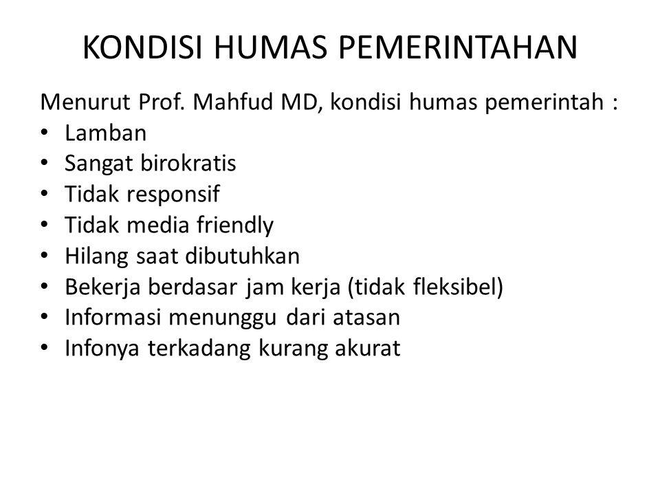 KONDISI HUMAS PEMERINTAHAN Menurut Prof. Mahfud MD, kondisi humas pemerintah : Lamban Sangat birokratis Tidak responsif Tidak media friendly Hilang sa