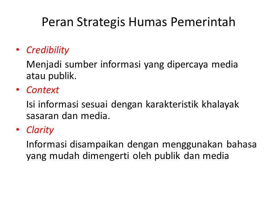 Credibility Menjadi sumber informasi yang dipercaya media atau publik. Context Isi informasi sesuai dengan karakteristik khalayak sasaran dan media. C