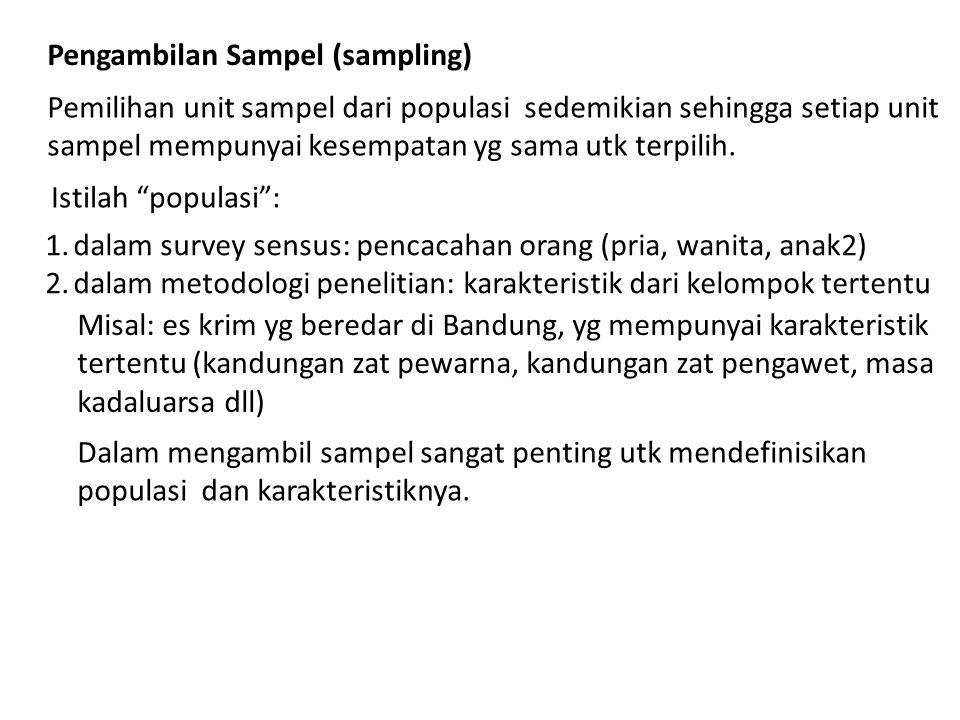 Pengambilan Sampel (sampling) Pemilihan unit sampel dari populasi sedemikian sehingga setiap unit sampel mempunyai kesempatan yg sama utk terpilih. Is
