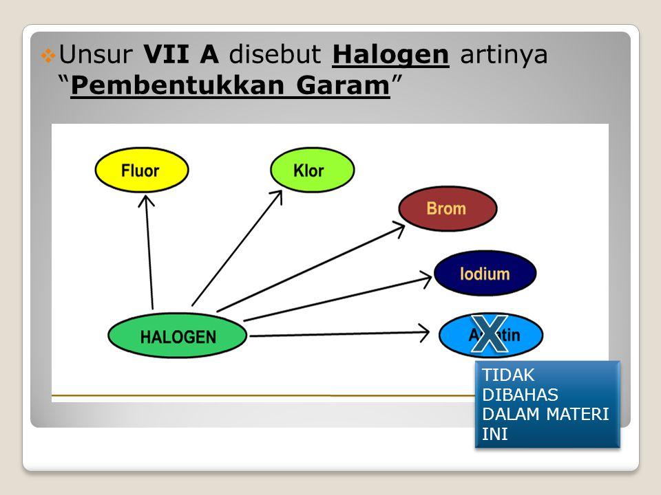  Unsur VII A disebut Halogen artinya Pembentukkan Garam TIDAK DIBAHAS DALAM MATERI INI