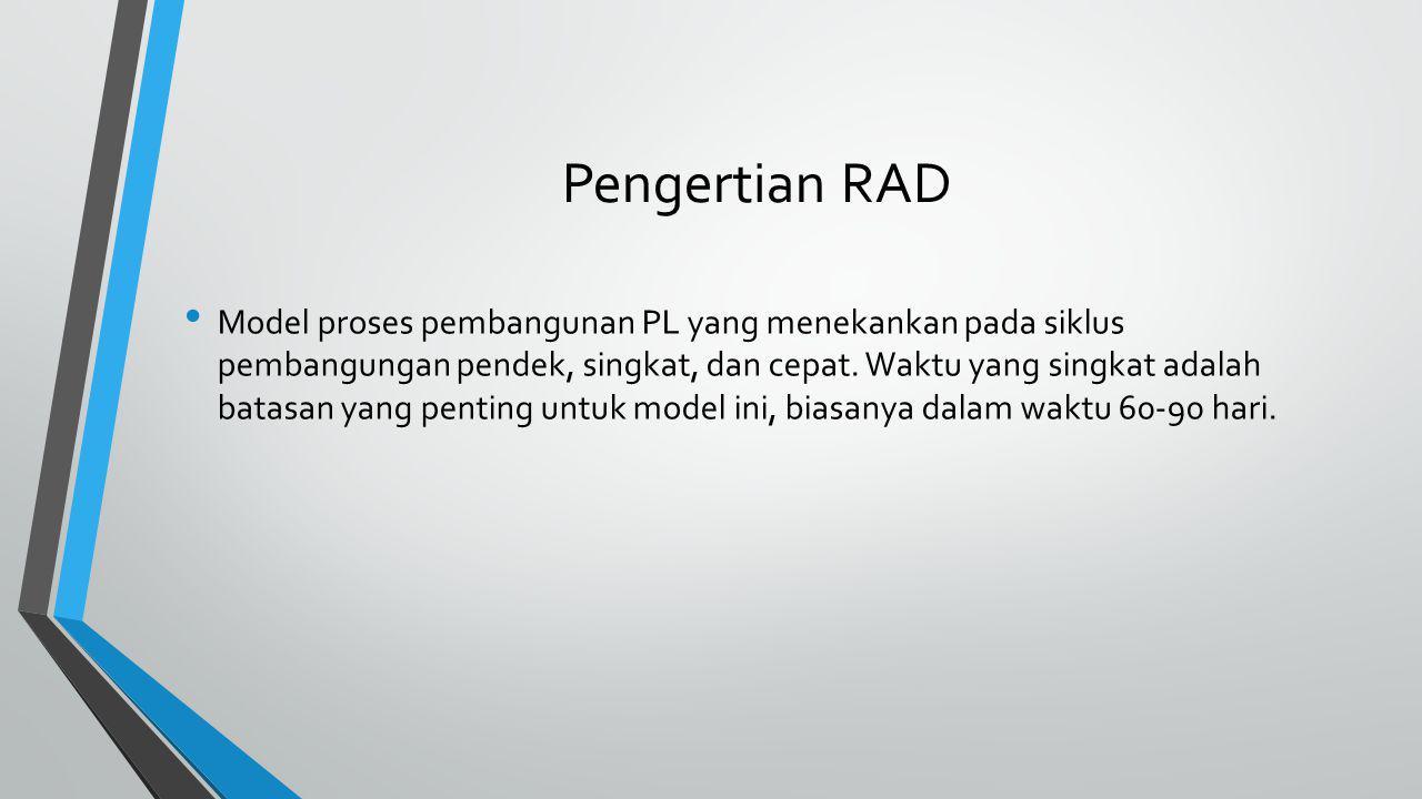 Unsur-unsur RAD Prototyping Membuat desain sesuai dengan kebutuhan pengguna Iterative Development Pembuatan aplikasi dibuat per-versi lalu ditinjau oleh klien.