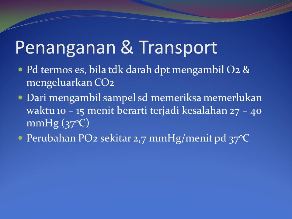 Penanganan & Transport Pd termos es, bila tdk darah dpt mengambil O2 & mengeluarkan CO2 Dari mengambil sampel sd memeriksa memerlukan waktu 10 – 15 me