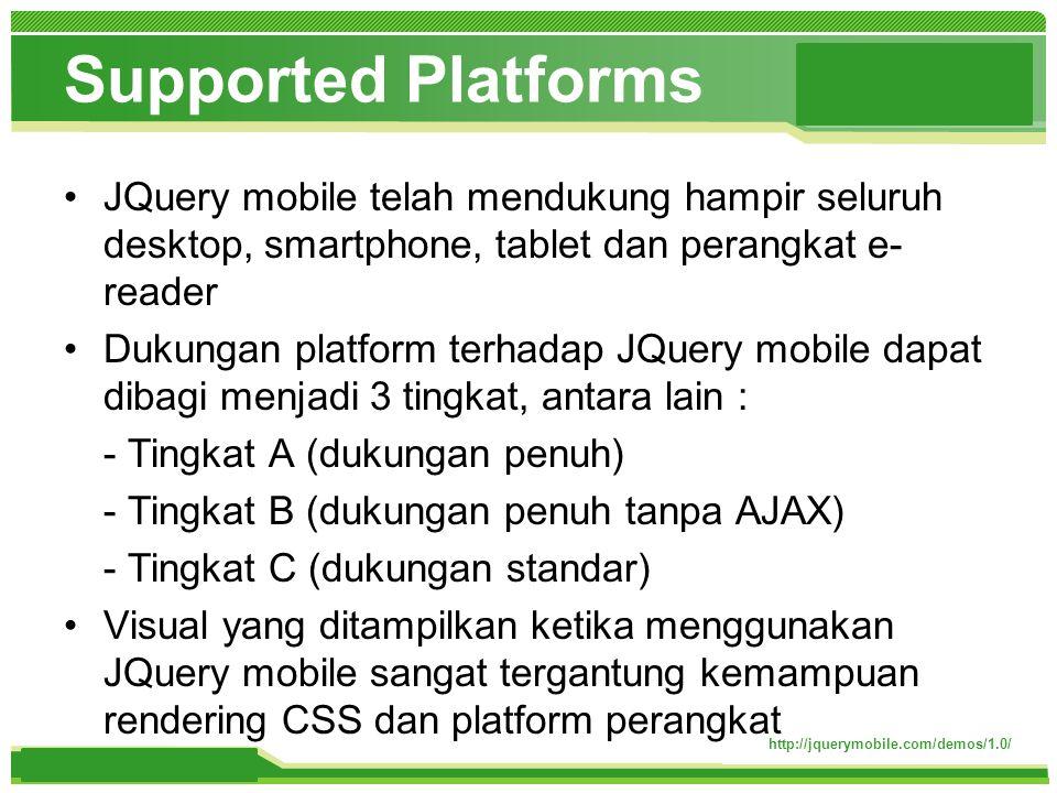 www.themegallery.com Supported Platforms http://jquerymobile.com/demos/1.0/ JQuery mobile telah mendukung hampir seluruh desktop, smartphone, tablet dan perangkat e- reader Dukungan platform terhadap JQuery mobile dapat dibagi menjadi 3 tingkat, antara lain : - Tingkat A (dukungan penuh) - Tingkat B (dukungan penuh tanpa AJAX) - Tingkat C (dukungan standar) Visual yang ditampilkan ketika menggunakan JQuery mobile sangat tergantung kemampuan rendering CSS dan platform perangkat