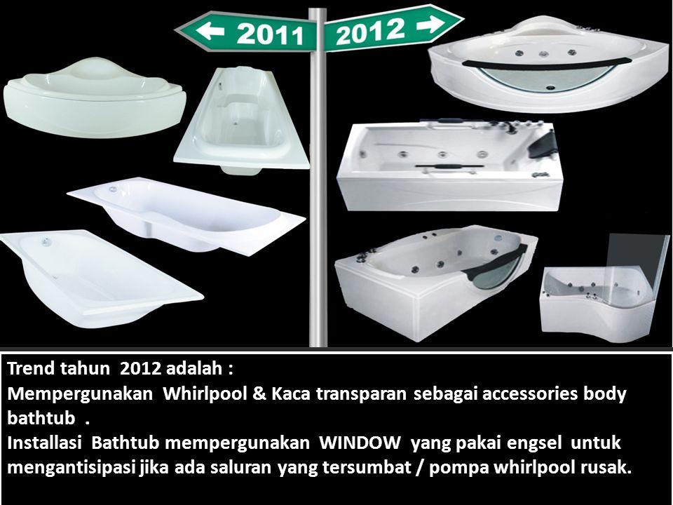 Trend tahun 2012 adalah : Mempergunakan Whirlpool & Kaca transparan sebagai accessories body bathtub.