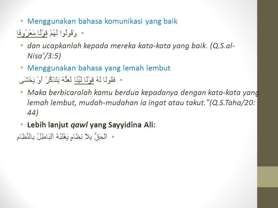 Menggunakan bahasa komunikasi yang baik وَقُولُوا لَهُمْ قَوْلًا مَعْرُوفًا dan ucapkanlah kepada mereka kata-kata yang baik. (Q.S.al- Nisa'/3:5) Meng