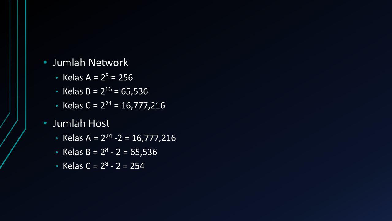 Jumlah Network Kelas A = 2 8 = 256 Kelas B = 2 16 = 65,536 Kelas C = 2 24 = 16,777,216 Jumlah Host Kelas A = 2 24 -2 = 16,777,216 Kelas B = 2 8 - 2 =