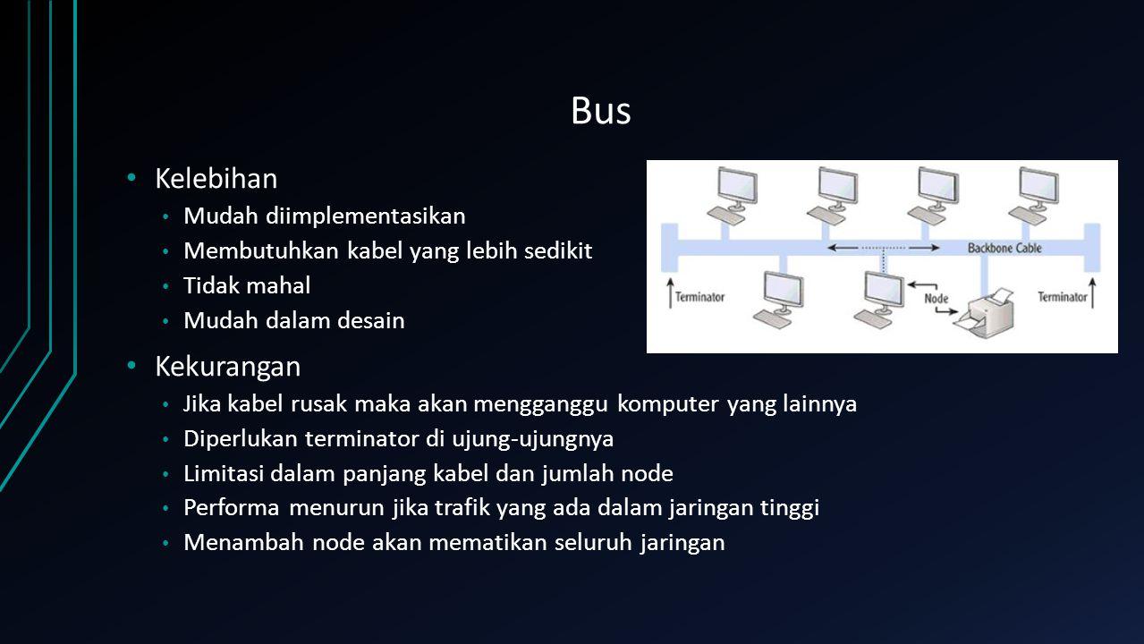 Ring Kelebihan Performa lebih baik daripada bus Menghindari tabrakan transmisi data Dapat lebih besar daripada bus karena terdapat setiap node berfungsi sebagai repeater Kekurangan Jika kabel mengalami gangguan maka seluruh jaringan akan ikut down Jika network dimatikan maka yang lain tidak akan berfungsi Menambahkan node akan mematikan seluruh jaringan