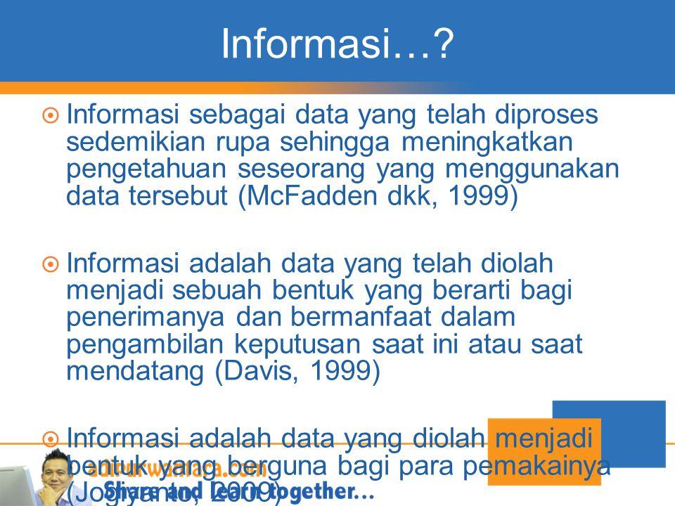 Informasi…?  Informasi sebagai data yang telah diproses sedemikian rupa sehingga meningkatkan pengetahuan seseorang yang menggunakan data tersebut (M
