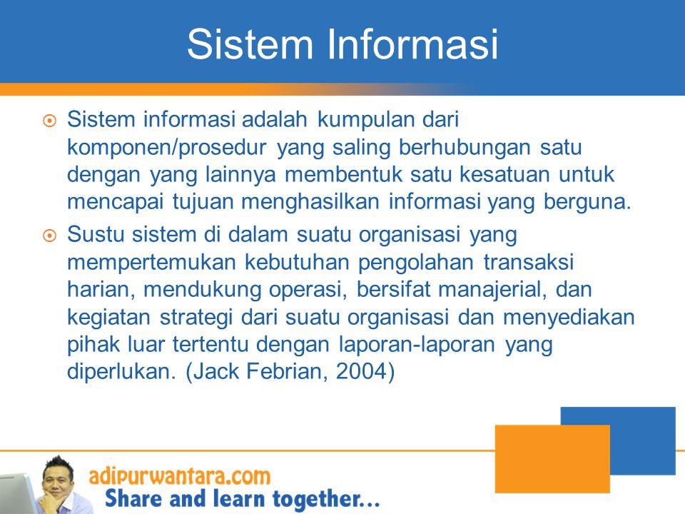 Sistem Informasi  Sistem informasi adalah kumpulan dari komponen/prosedur yang saling berhubungan satu dengan yang lainnya membentuk satu kesatuan un
