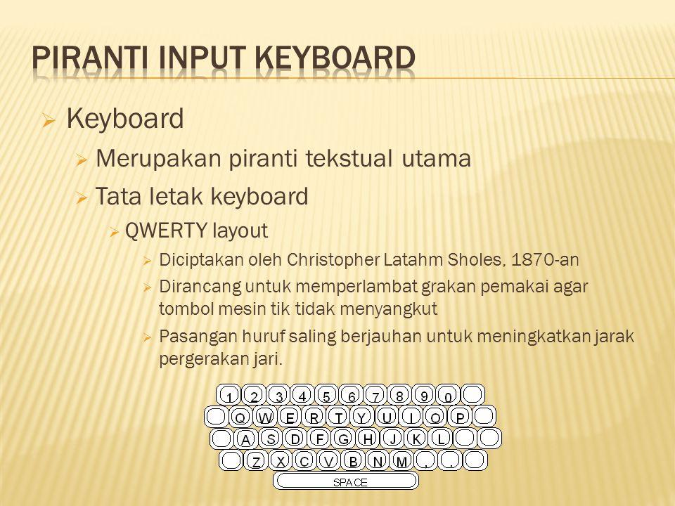  Keyboard  Merupakan piranti tekstual utama  Tata letak keyboard  QWERTY layout  Diciptakan oleh Christopher Latahm Sholes, 1870-an  Dirancang untuk memperlambat grakan pemakai agar tombol mesin tik tidak menyangkut  Pasangan huruf saling berjauhan untuk meningkatkan jarak pergerakan jari.