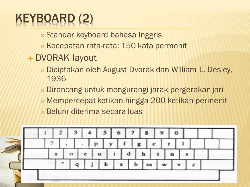  Standar keyboard bahasa Inggris  Kecepatan rata-rata: 150 kata permenit  DVORAK layout  Diciptakan oleh August Dvorak dan William L. Desley, 1936