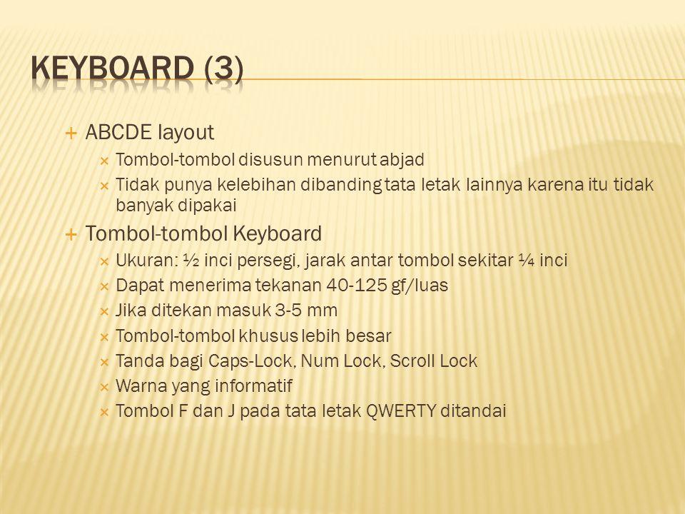  ABCDE layout  Tombol-tombol disusun menurut abjad  Tidak punya kelebihan dibanding tata letak lainnya karena itu tidak banyak dipakai  Tombol-tom