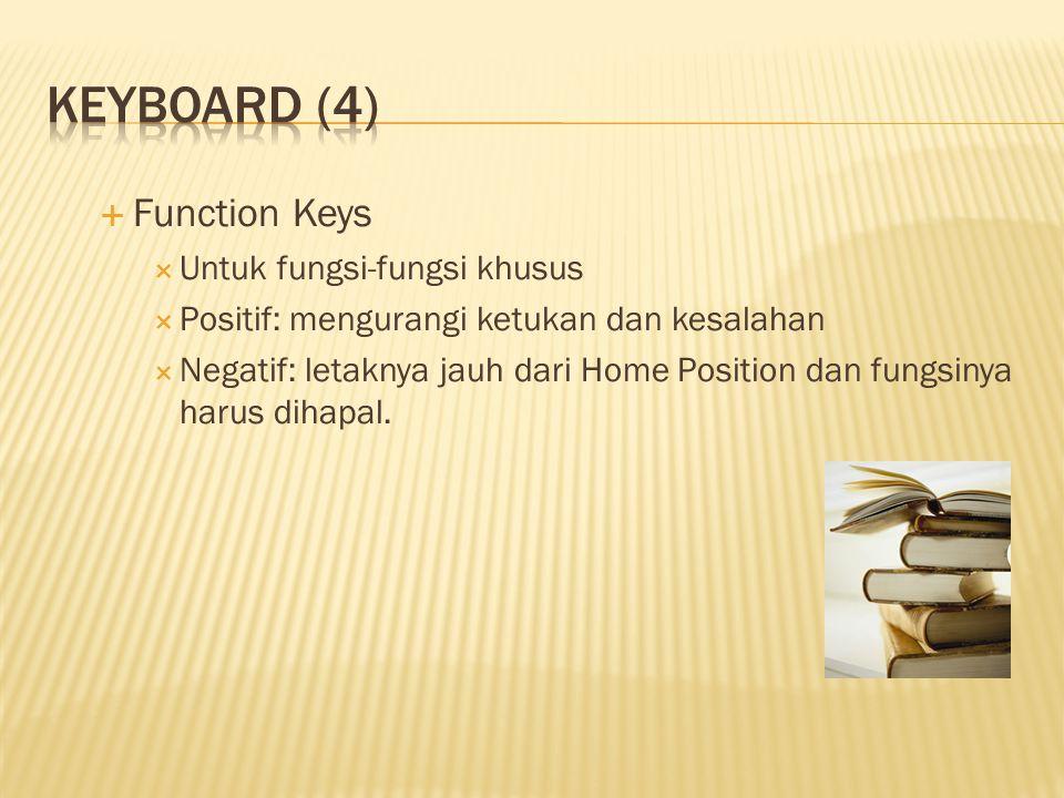  Function Keys  Untuk fungsi-fungsi khusus  Positif: mengurangi ketukan dan kesalahan  Negatif: letaknya jauh dari Home Position dan fungsinya har