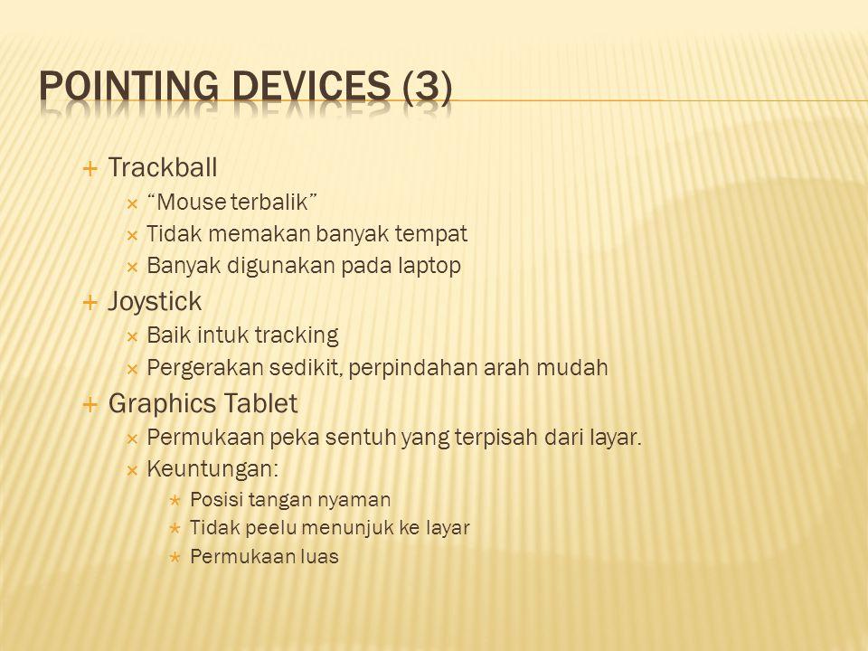 """ Trackball  """"Mouse terbalik""""  Tidak memakan banyak tempat  Banyak digunakan pada laptop  Joystick  Baik intuk tracking  Pergerakan sedikit, per"""