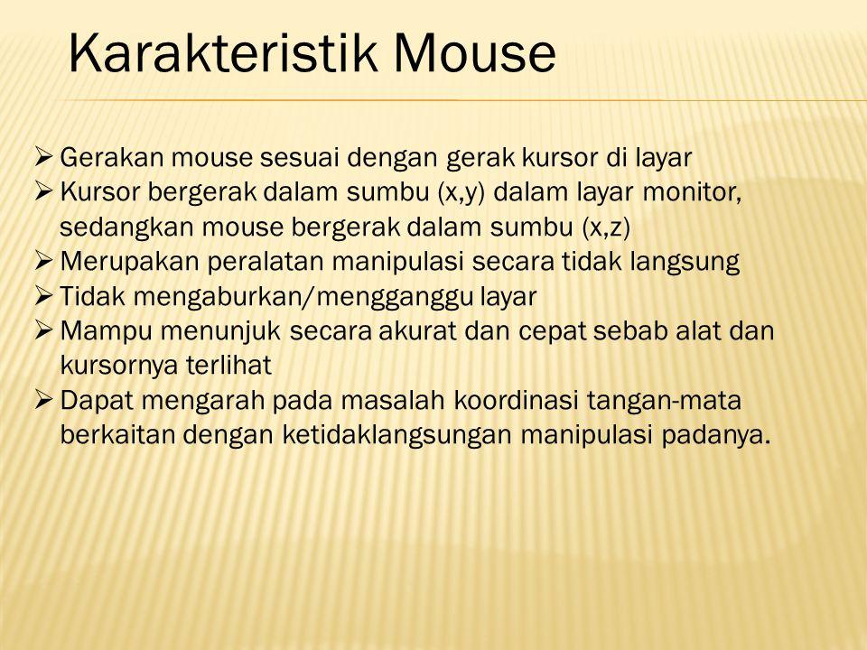  Gerakan mouse sesuai dengan gerak kursor di layar  Kursor bergerak dalam sumbu (x,y) dalam layar monitor, sedangkan mouse bergerak dalam sumbu (x,z