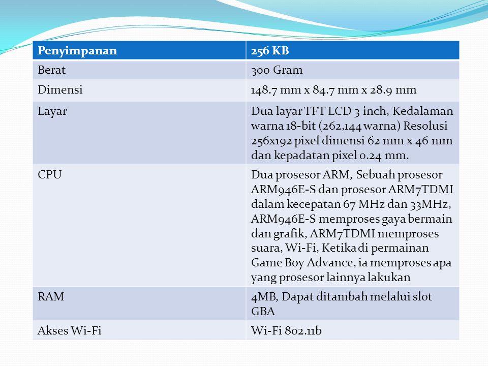 Penyimpanan256 KB Berat300 Gram Dimensi148.7 mm x 84.7 mm x 28.9 mm LayarDua layar TFT LCD 3 inch, Kedalaman warna 18-bit (262,144 warna) Resolusi 256