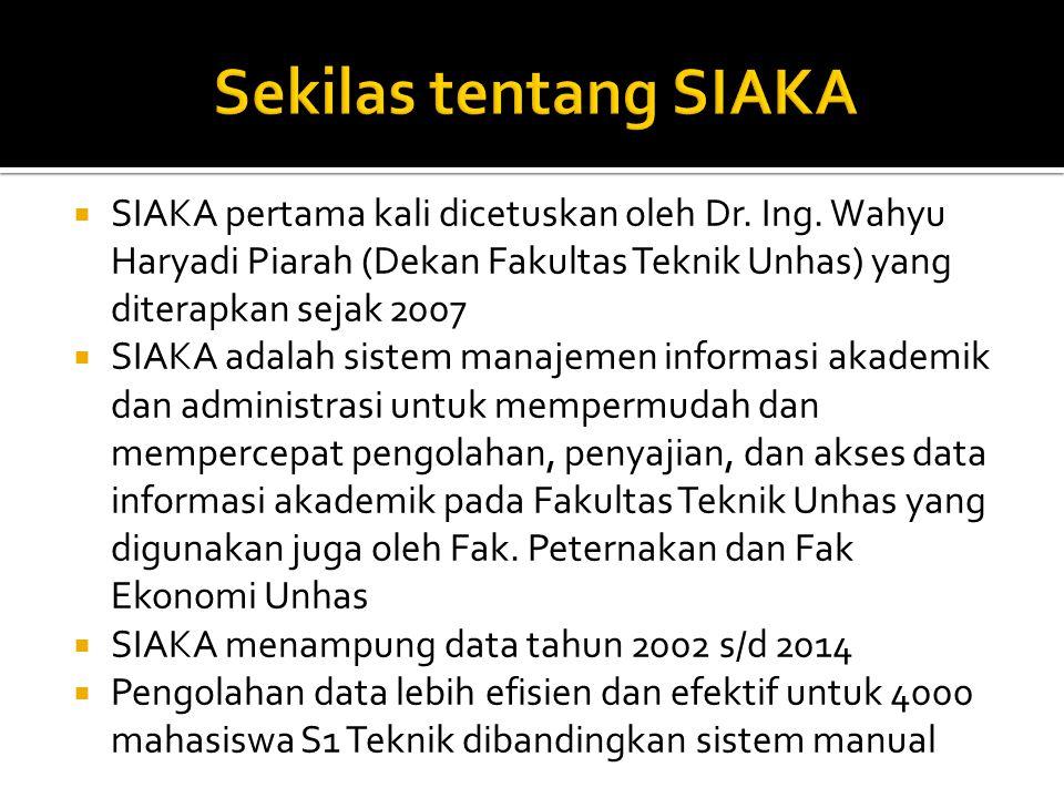  SIAKA pertama kali dicetuskan oleh Dr. Ing. Wahyu Haryadi Piarah (Dekan Fakultas Teknik Unhas) yang diterapkan sejak 2007  SIAKA adalah sistem mana