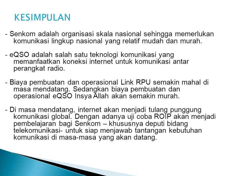 - Senkom adalah organisasi skala nasional sehingga memerlukan komunikasi lingkup nasional yang relatif mudah dan murah.