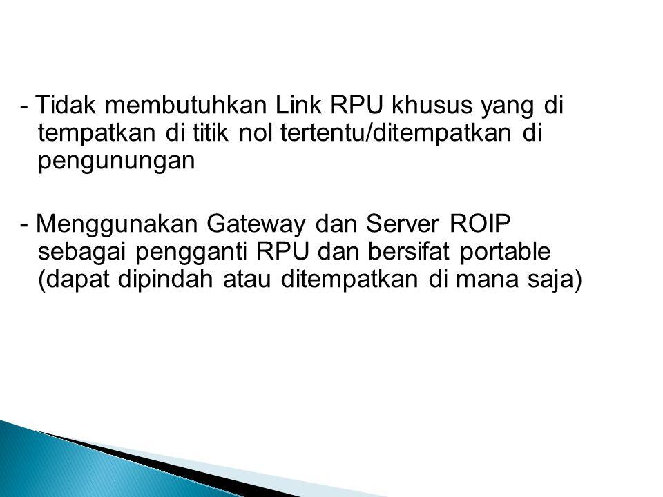 - Tidak membutuhkan Link RPU khusus yang di tempatkan di titik nol tertentu/ditempatkan di pengunungan - Menggunakan Gateway dan Server ROIP sebagai pengganti RPU dan bersifat portable (dapat dipindah atau ditempatkan di mana saja)