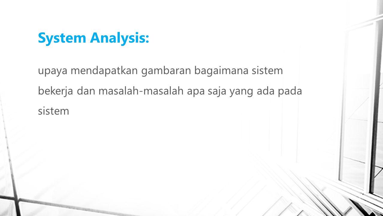 System Analysis: upaya mendapatkan gambaran bagaimana sistem bekerja dan masalah-masalah apa saja yang ada pada sistem