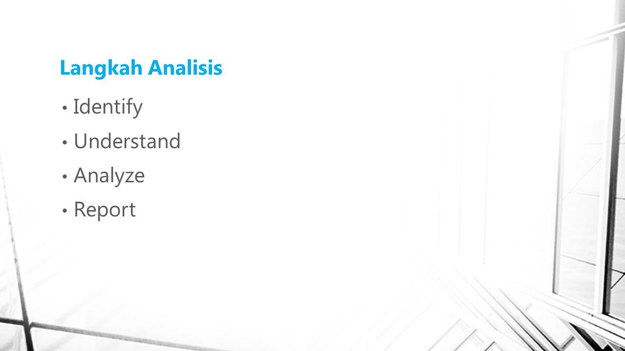 Langkah Analisis Identify Understand Analyze Report