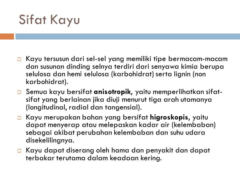 Sifat Kayu  Kayu tersusun dari sel-sel yang memiliki tipe bermacam-macam dan susunan dinding selnya terdiri dari senyawa kimia berupa selulosa dan hemi selulosa (karbohidrat) serta lignin (non karbohidrat).