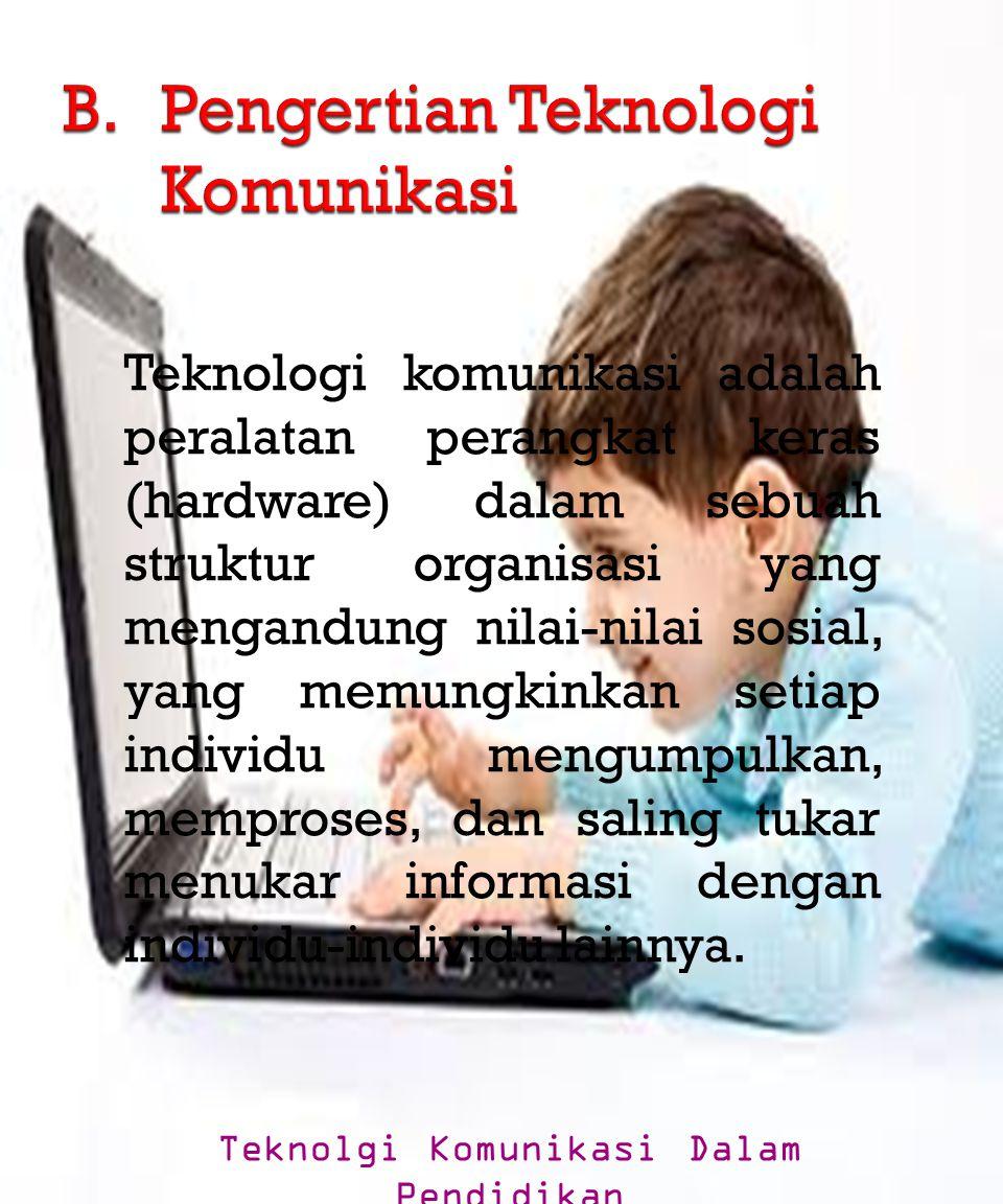 Teknologi komunikasi adalah peralatan perangkat keras (hardware) dalam sebuah struktur organisasi yang mengandung nilai-nilai sosial, yang memungkinka
