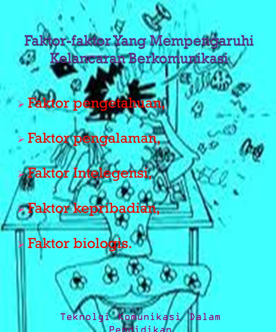  Faktor pengetahuan,  Faktor pengalaman,  Faktor Intelegensi,  Faktor kepribadian,  Faktor biologis. Teknolgi Komunikasi Dalam Pendidikan