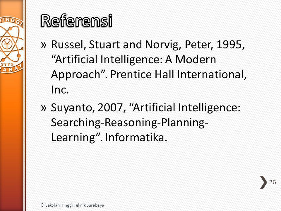 "» Russel, Stuart and Norvig, Peter, 1995, ""Artificial Intelligence: A Modern Approach"". Prentice Hall International, Inc. » Suyanto, 2007, ""Artificial"