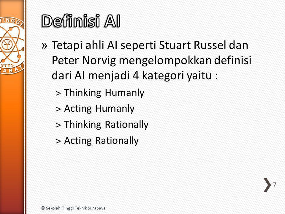 » Tetapi ahli AI seperti Stuart Russel dan Peter Norvig mengelompokkan definisi dari AI menjadi 4 kategori yaitu : ˃Thinking Humanly ˃Acting Humanly ˃