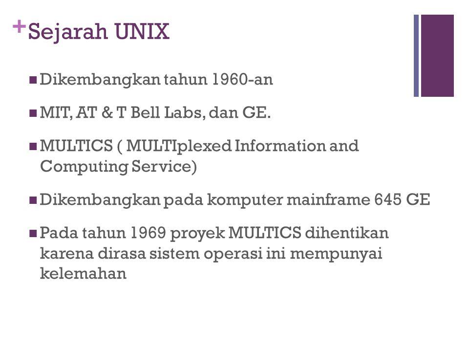 + Sejarah UNIX Dikembangkan tahun 1960-an MIT, AT & T Bell Labs, dan GE.