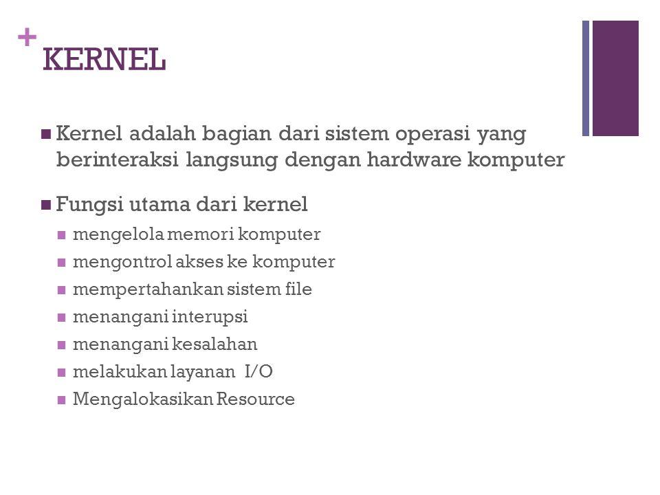 + KERNEL Kernel adalah bagian dari sistem operasi yang berinteraksi langsung dengan hardware komputer Fungsi utama dari kernel mengelola memori komputer mengontrol akses ke komputer mempertahankan sistem file menangani interupsi menangani kesalahan melakukan layanan I/O Mengalokasikan Resource