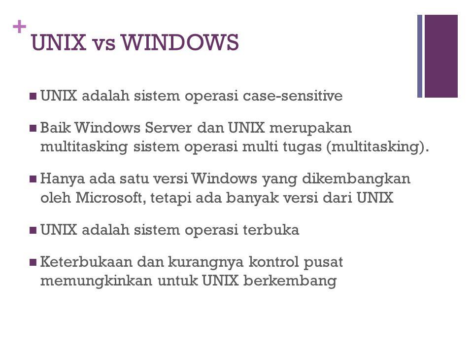 + UNIX vs WINDOWS UNIX adalah sistem operasi case-sensitive Baik Windows Server dan UNIX merupakan multitasking sistem operasi multi tugas (multitasking).