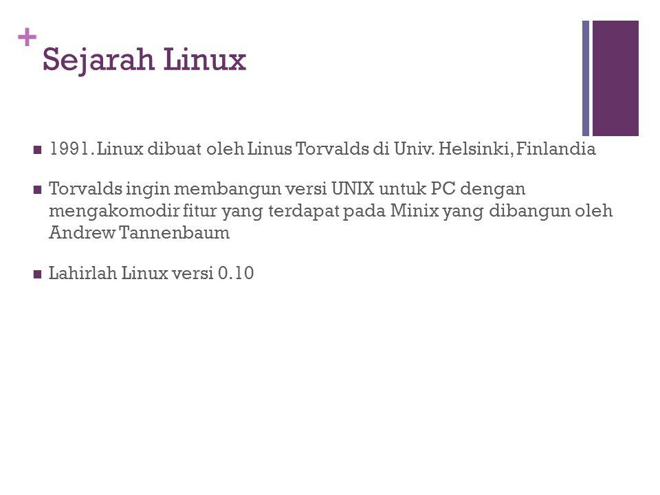 + Sejarah Linux 1991. Linux dibuat oleh Linus Torvalds di Univ.