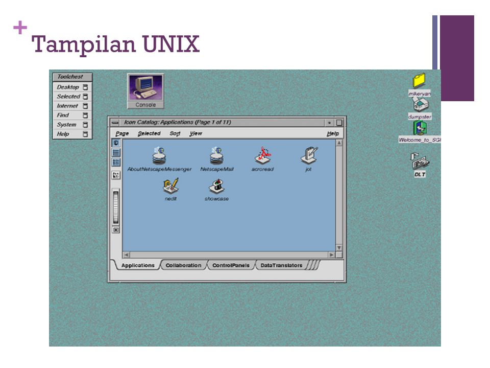 + Tampilan UNIX