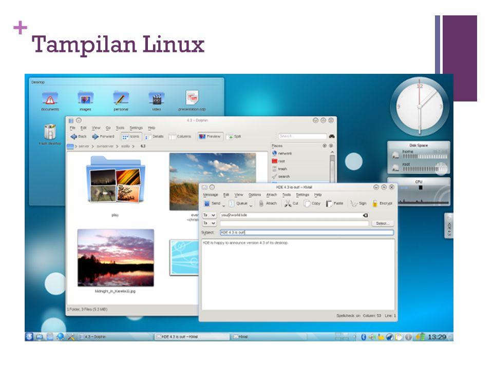 + Tampilan Linux