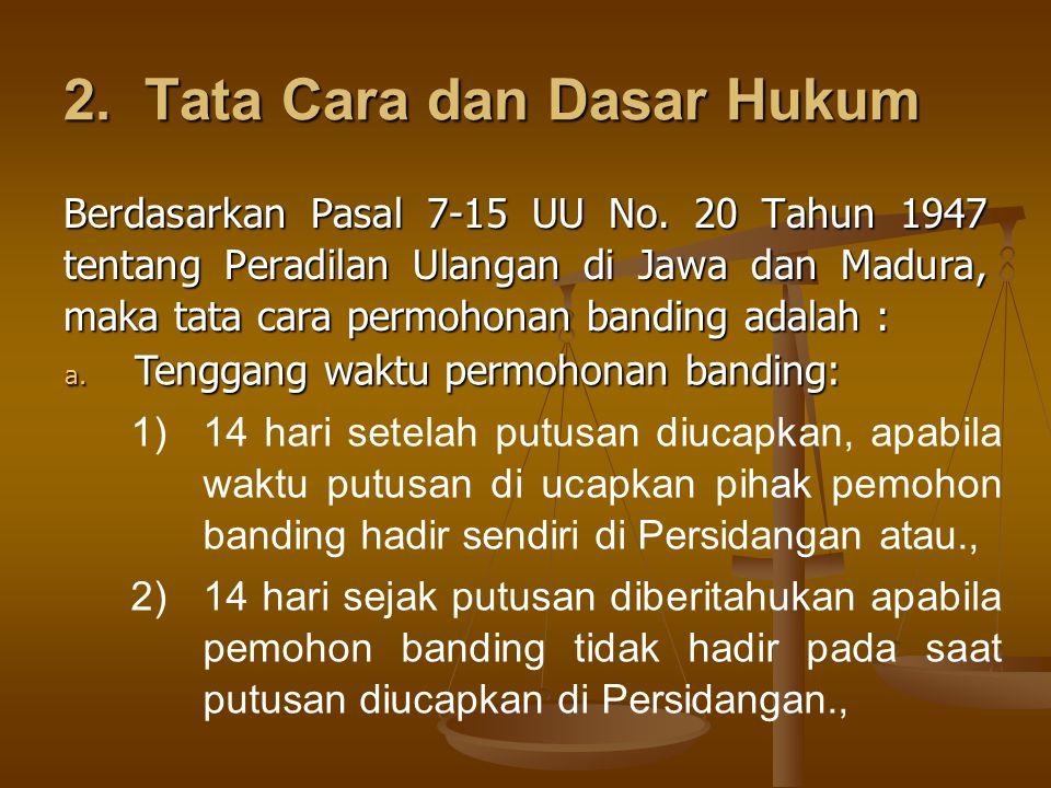 2.Tata Cara dan Dasar Hukum Berdasarkan Pasal 7-15 UU No.