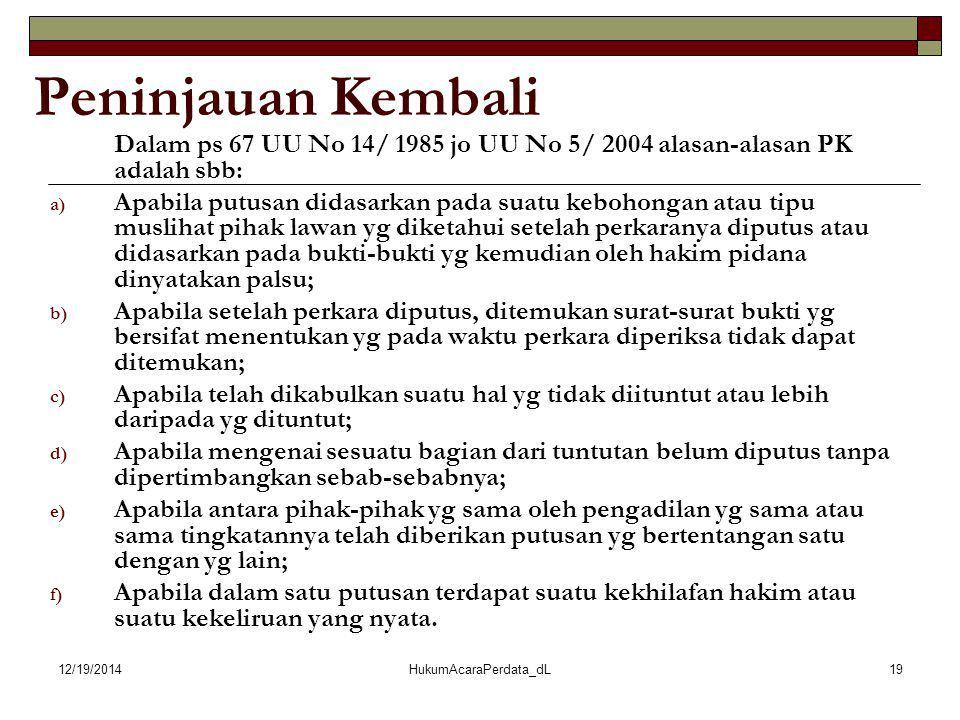 12/19/2014HukumAcaraPerdata_dL19 Peninjauan Kembali Dalam ps 67 UU No 14/ 1985 jo UU No 5/ 2004 alasan-alasan PK adalah sbb: a) Apabila putusan didasa