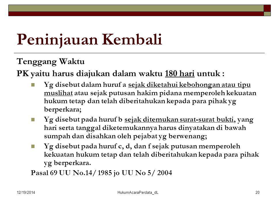 12/19/2014HukumAcaraPerdata_dL20 Peninjauan Kembali Tenggang Waktu PK yaitu harus diajukan dalam waktu 180 hari untuk : Yg disebut dalam huruf a sejak