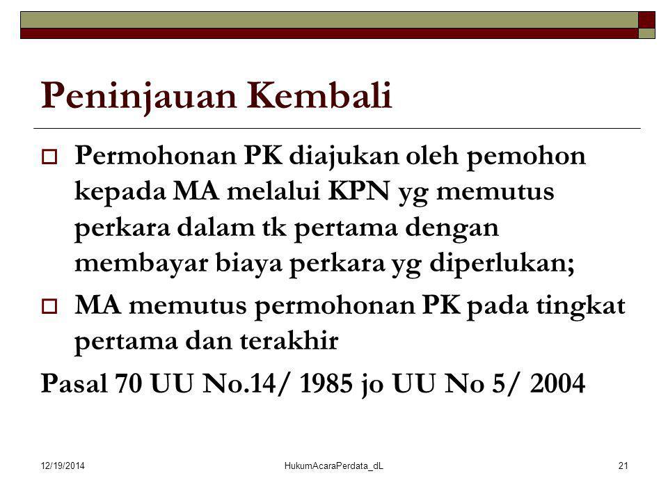 12/19/2014HukumAcaraPerdata_dL21 Peninjauan Kembali  Permohonan PK diajukan oleh pemohon kepada MA melalui KPN yg memutus perkara dalam tk pertama de