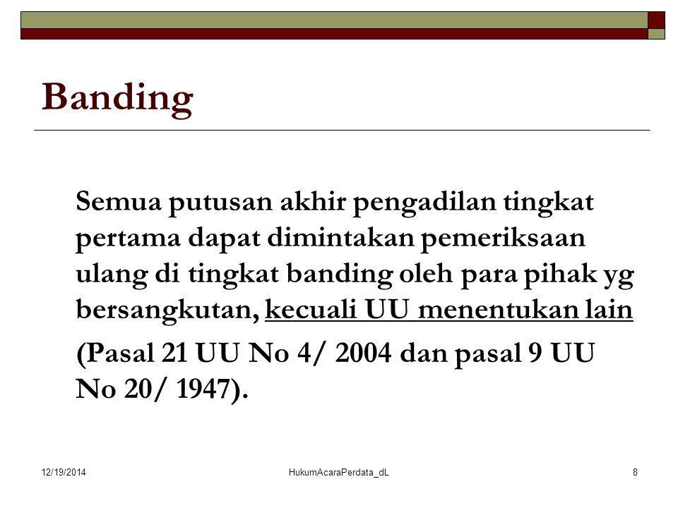 12/19/2014HukumAcaraPerdata_dL8 Banding Semua putusan akhir pengadilan tingkat pertama dapat dimintakan pemeriksaan ulang di tingkat banding oleh para