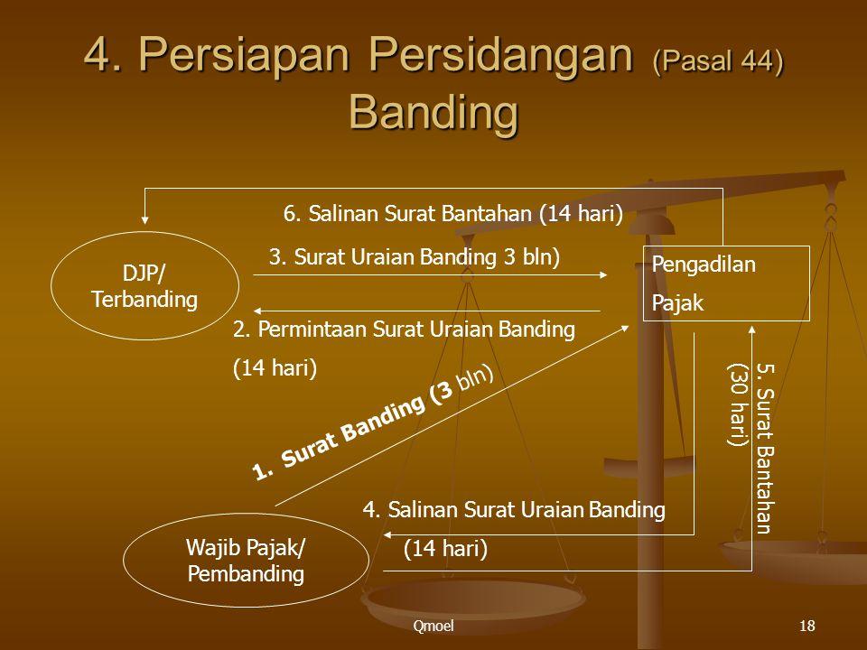 Qmoel18 4. Persiapan Persidangan (Pasal 44) Banding DJP/ Terbanding Wajib Pajak/ Pembanding Pengadilan Pajak 1.Surat Banding (3 bln) 2. Permintaan Sur