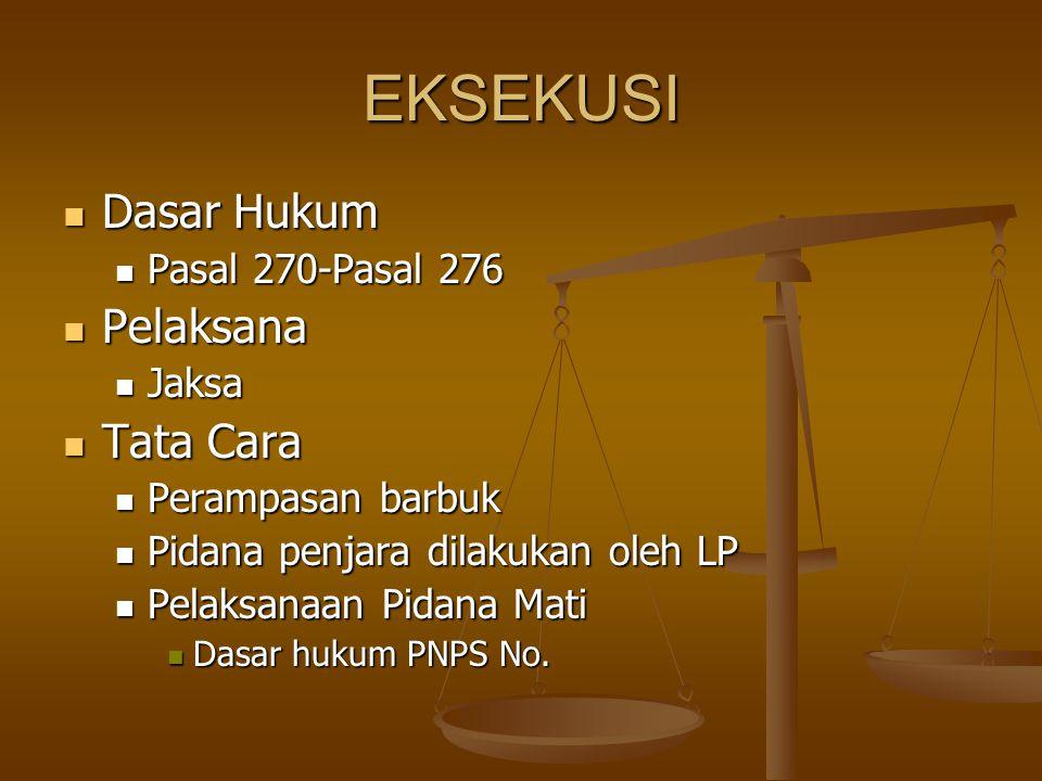 EKSEKUSI Dasar Hukum Dasar Hukum Pasal 270-Pasal 276 Pasal 270-Pasal 276 Pelaksana Pelaksana Jaksa Jaksa Tata Cara Tata Cara Perampasan barbuk Perampa