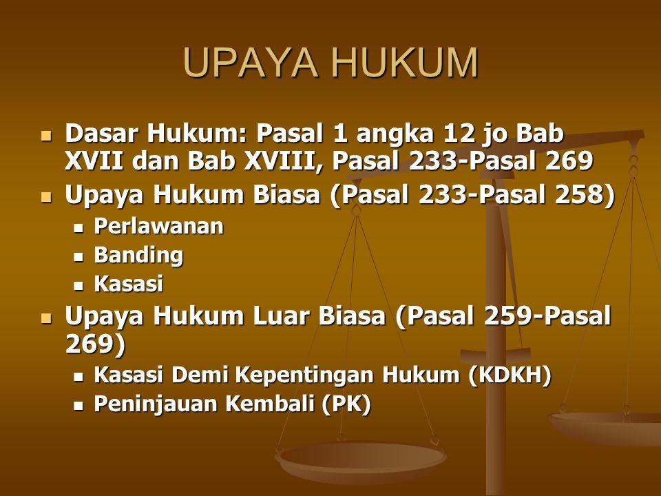 UPAYA HUKUM Dasar Hukum: Pasal 1 angka 12 jo Bab XVII dan Bab XVIII, Pasal 233-Pasal 269 Dasar Hukum: Pasal 1 angka 12 jo Bab XVII dan Bab XVIII, Pasa