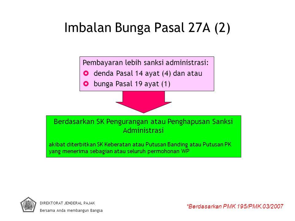 Imbalan Bunga Pasal 27A (2) DIREKTORAT JENDERAL PAJAK Bersama Anda membangun Bangsa *Berdasarkan PMK 195/PMK.03/2007 Pembayaran lebih sanksi administr
