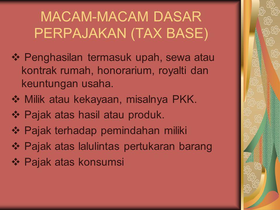 MACAM-MACAM DASAR PERPAJAKAN (TAX BASE)  Penghasilan termasuk upah, sewa atau kontrak rumah, honorarium, royalti dan keuntungan usaha.  Milik atau k