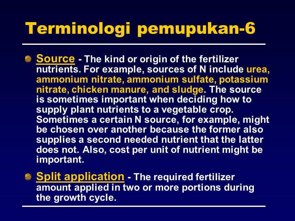 Terminologi pemupukan-6 Source - The kind or origin of the fertilizer nutrients. For example, sources of N include urea, ammonium nitrate, ammonium su